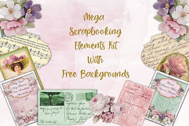 Mega Scrapbooking Kit with free backgrounds