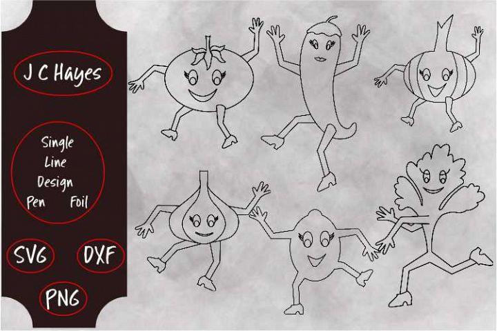Dancing Salsa Veggies, Single Line, Pen, Foil, SVG, PNG, DXF