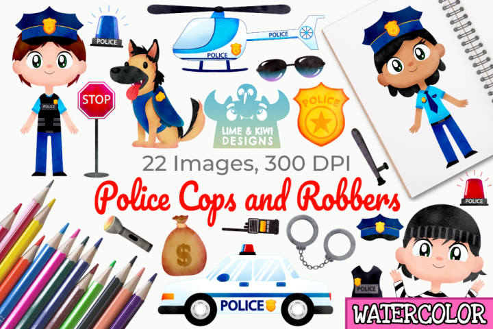 Police Cops and Robbers Watercolor Clipart, Instant Download