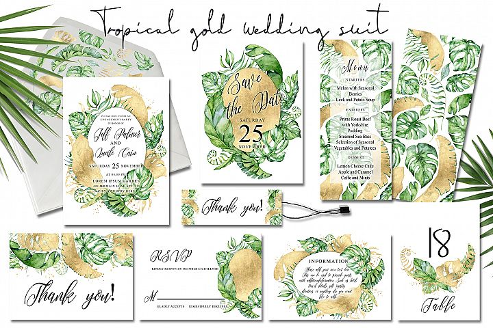 Tropical gold wedding invitation suit