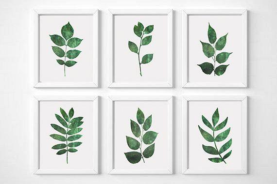 Leaf Wall Art, Set Of 6 Prints, Botanical Print, Leaf Wall Decor, Botanical Art Set, Set of 6 Wall Art, Botanical Poster, Green Leaf Print
