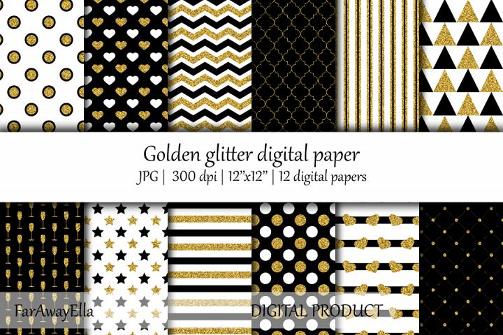 Golden glitter JPG digital paper | 12 seamless backgrounds