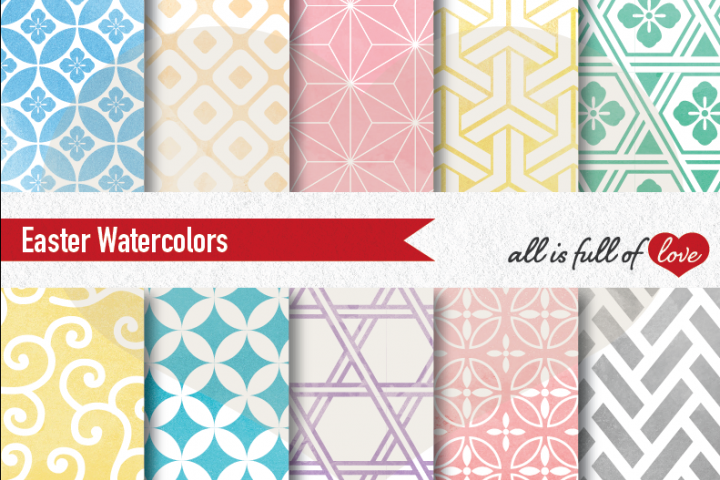 Easter Digital Paper Watercolor Background Patterns