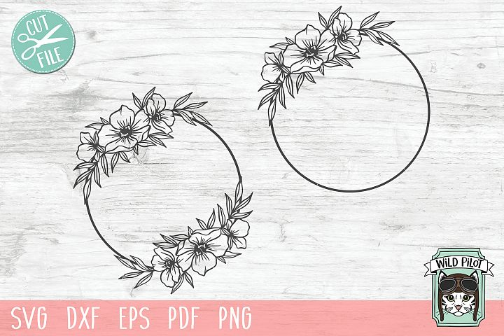 Flower Frame SVG file, Circle Frame, Floral cut file