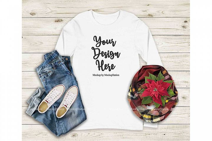 Bella Canvas 3501 White Christmas Long Sleeve Shirt Mockup
