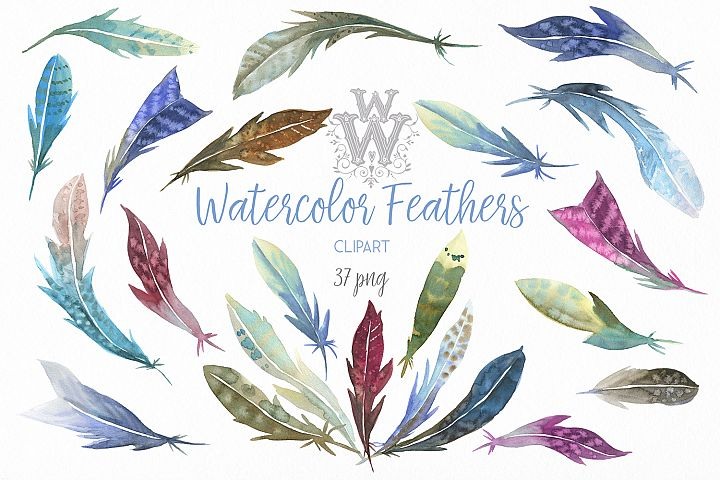 Watercolor feathers clip art, tribal Boho wedding clipart