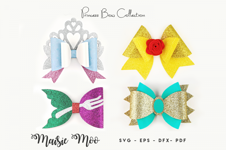 Princess Bow SVG, Crown Bow Template SVG, Tiara Hair Bow,