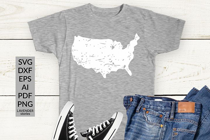 USA map - distressed SVG cut file