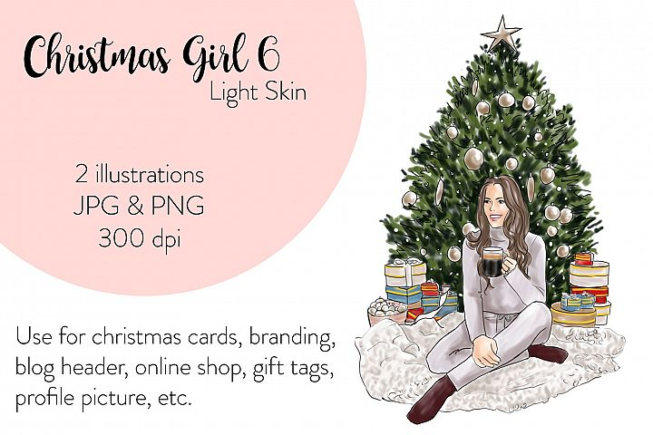 Fashion illustration - Christmas Girl 6 - Light Skin