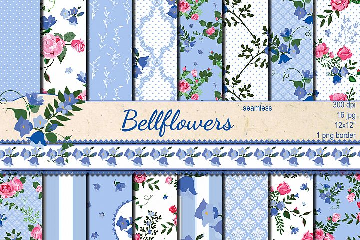 Shabby chic roses and bellflowers seamless patterns
