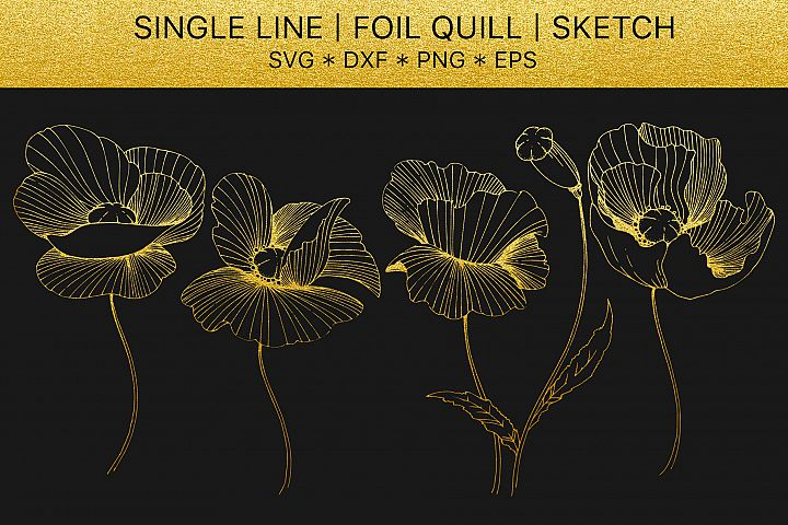 Foil quill svg Flowers Poppies golden monogram