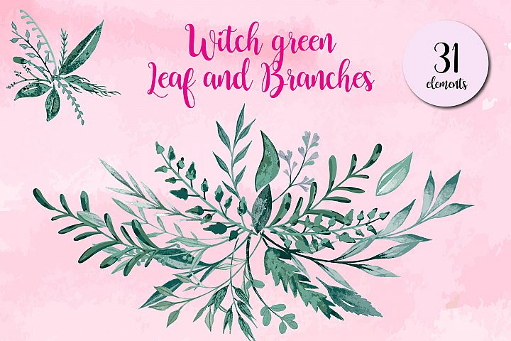 Watercolor witch Green Leaf and Branches bundle