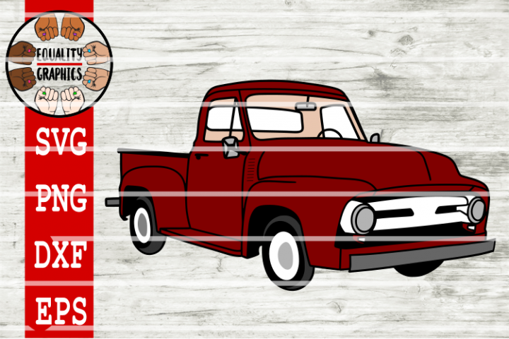 Vintage Old School Red Truck SVG   DXF   EPS   PNG