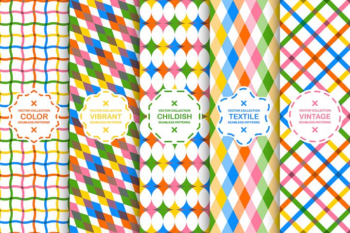Color seamless geometric patterns