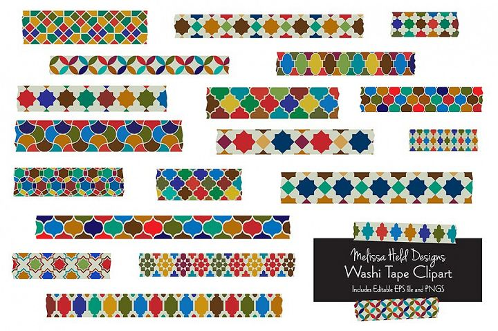 Moroccan Tile Washi Tape Clipart
