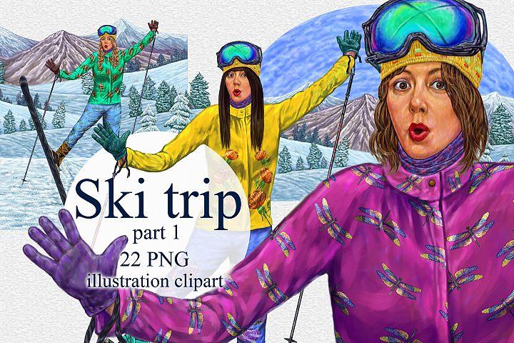 Ski trip, girls clipart, png illustration