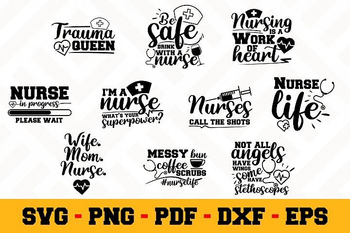 Nurse 10 Designs Pack | Nurse SVG Bundle