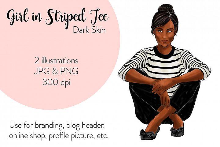 Fashion illustration - Girls in striped T - Dark Skin
