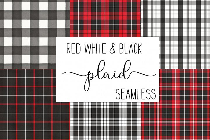 Black, white and red plaids - Buffalo checks patterns