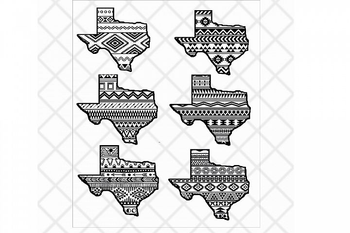 Texas state svg clipart vector Aztec pattern,State design