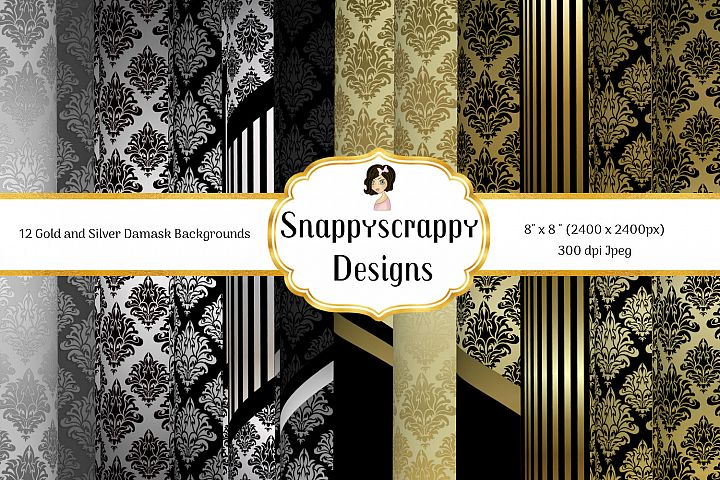 Black and Gold Decorative Background Paper Pack