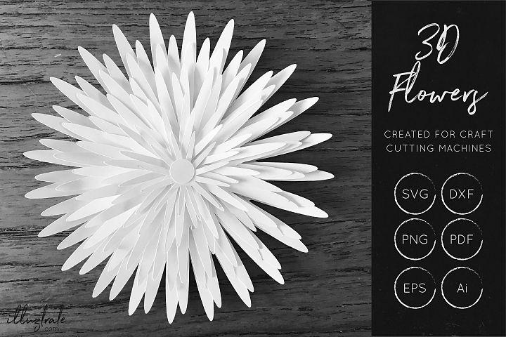 3D Flower SVG Cut Files - Flower SVG - Layered Flower DXF - Free Design of The Week Design 3