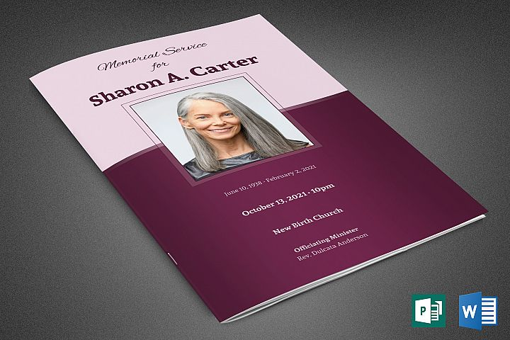 Sugar Plum Funeral Program Template