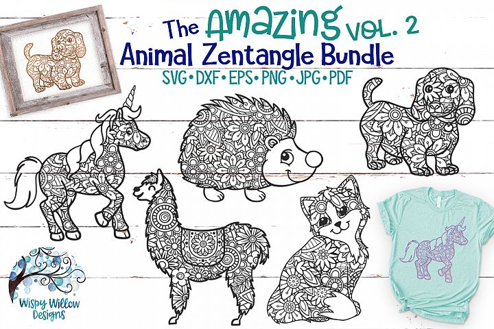 The Amazing Animal Zentangle Volume 2 SVG Bundle