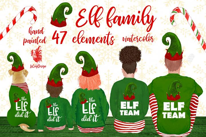 Christmas family clipart, Elf hat, Santa little helpers