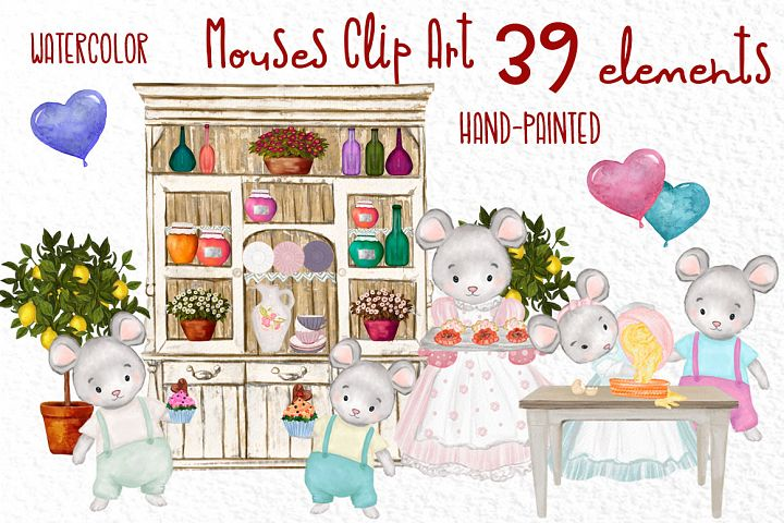 Cute Mouses clipart Animals clipart Watercolor animals