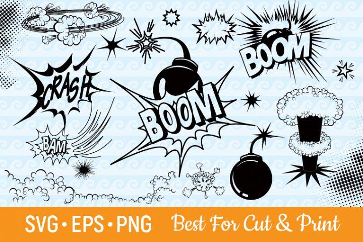 Explosion SVG Boom SVG Crash SVG Comic SVG Superhero Bomb