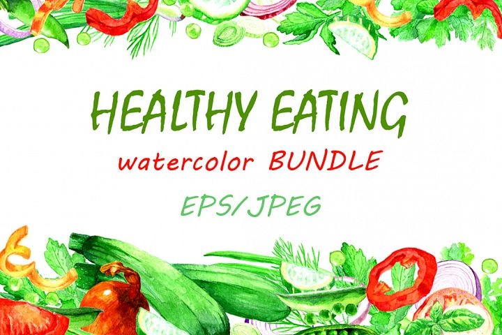 HEALTHY EATING Watercolor vegetables BIG set