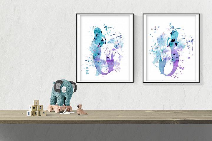 Mermaid wall art printable file bundle, set of 2