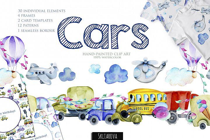 Cars. Watercolor clip art.