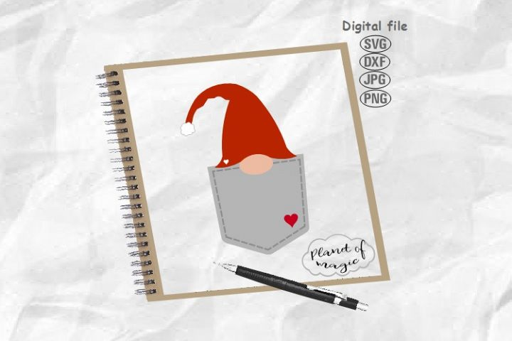 Gnome Svg, Gnome Pocket Svg, Gnome Cut File, Peeking Gnome