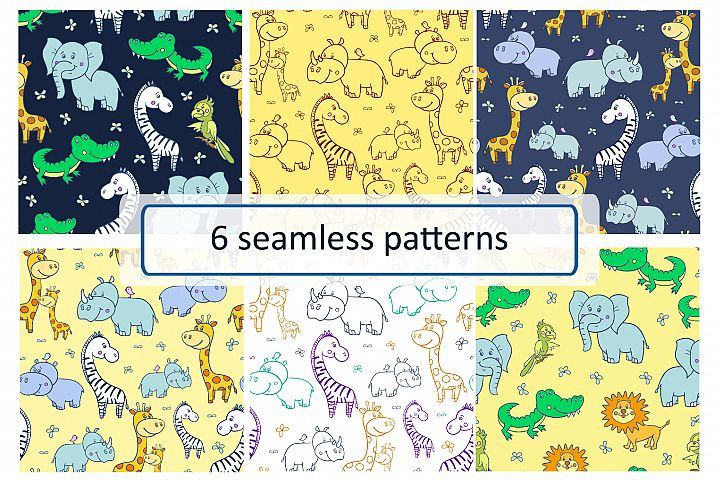 African animals. Seamless patterns.