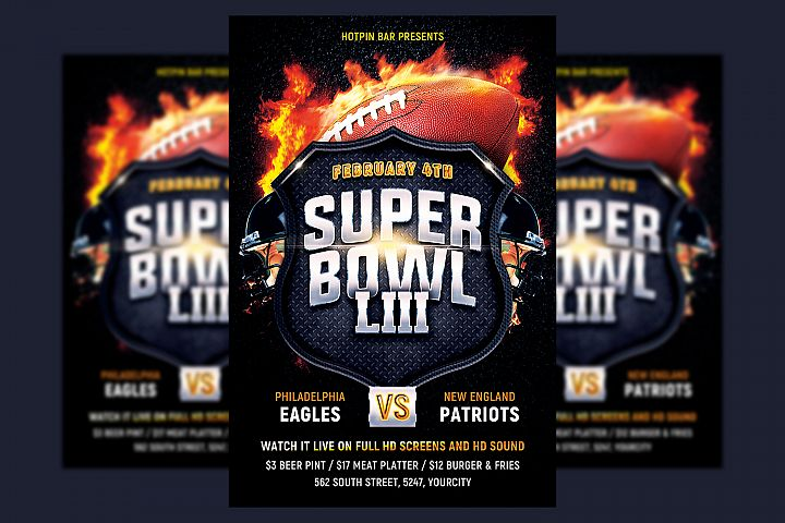 Football Super Bowl Flyer Template