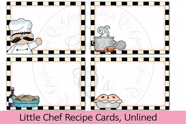 Little Chef Recipe Cards, unlined