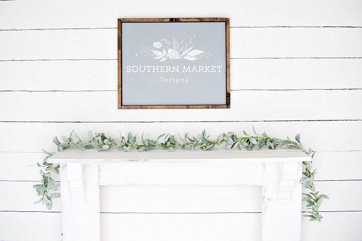 16x20 Grey Wood Framed Sign Digital Mock Up Styled Stock Pho