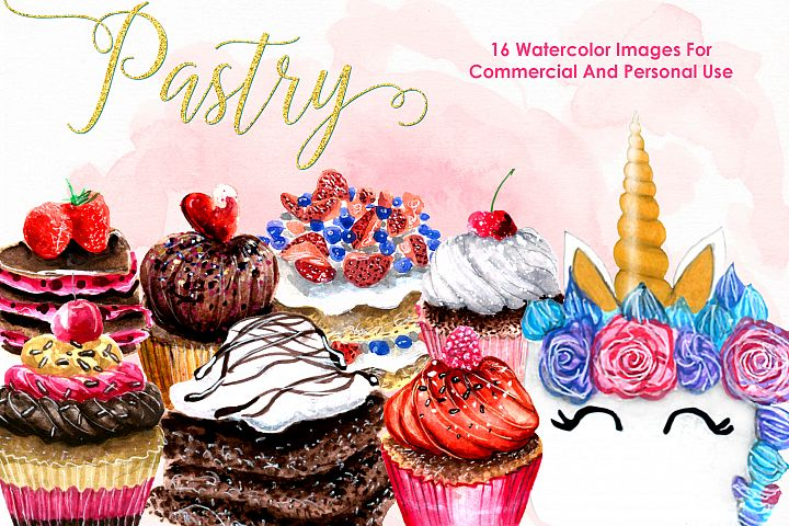 Watercolor Pastry Bundle Cooking Kitchen Watercolor Flowers