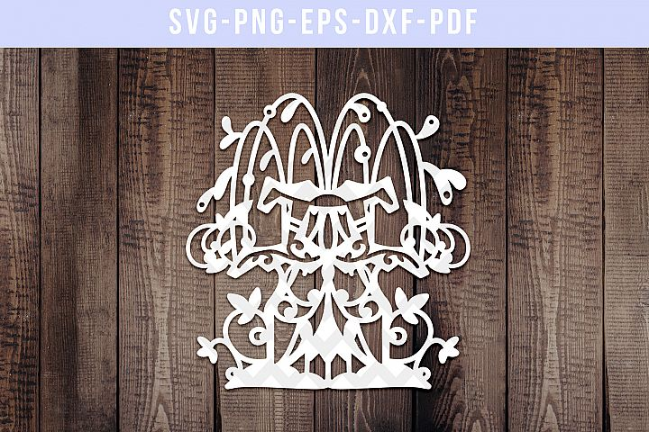 Water Fountain 5 Paper Cut Template, Wedding Decor SVG, PDF