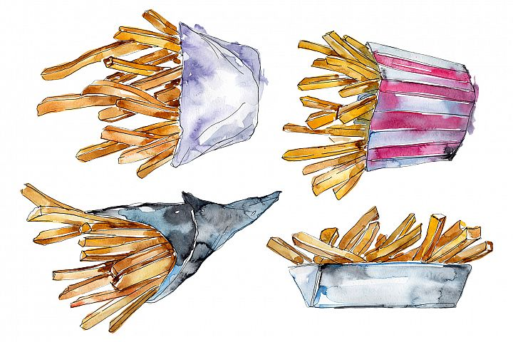 French fries Watercolor PNG