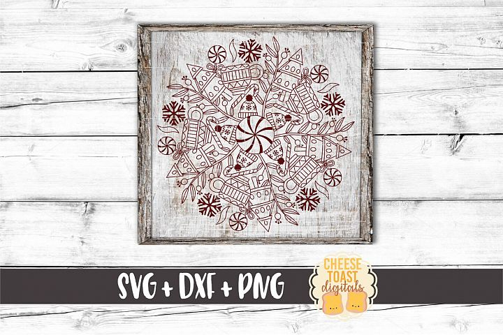 Peppermint Mocha Mandala - Holiday Mandala SVG PNG DXF Files