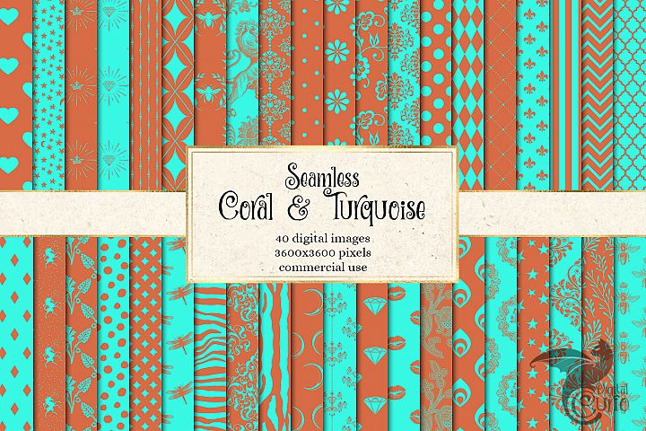 Coral and Turquoise Patterns Digital Paper