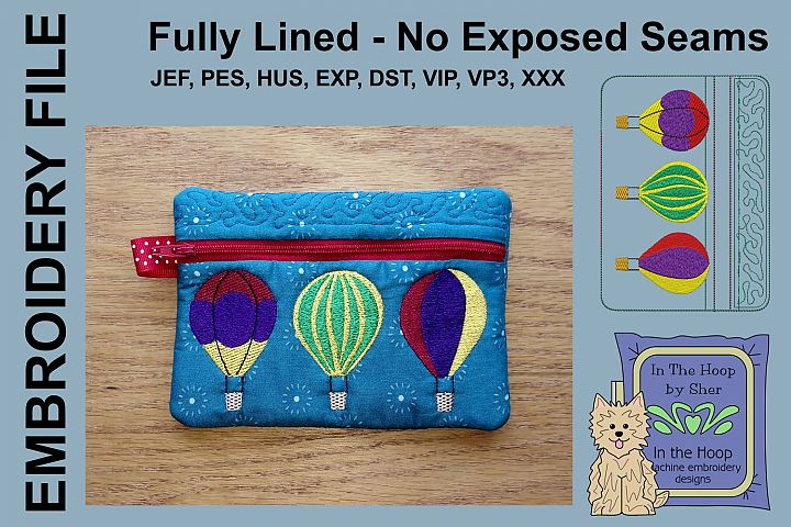 ITH Hot Air Balloons Zipper Bag - Fully Lined, 5X7 HOOP