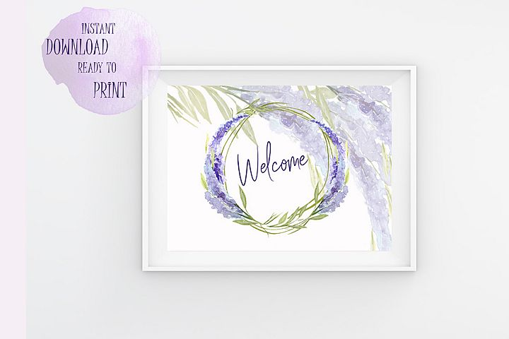 Welcome Printable Lavander watercolor