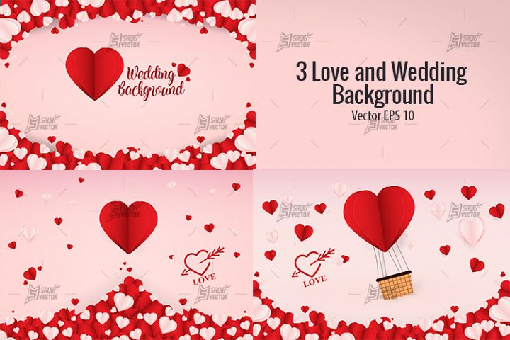 3 Love and Wedding Background Vector Template Design