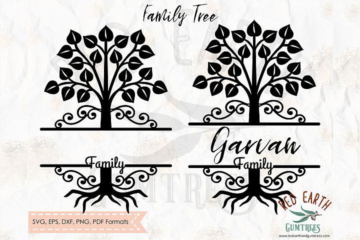 Family tree split monogram frame in SVG,DXF,PNG,EPS,PDF