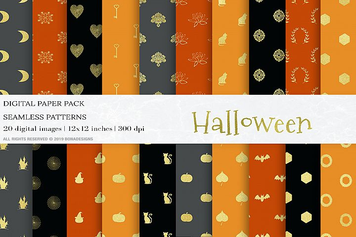 Gold Halloween Digital Papers, Halloween Patterns