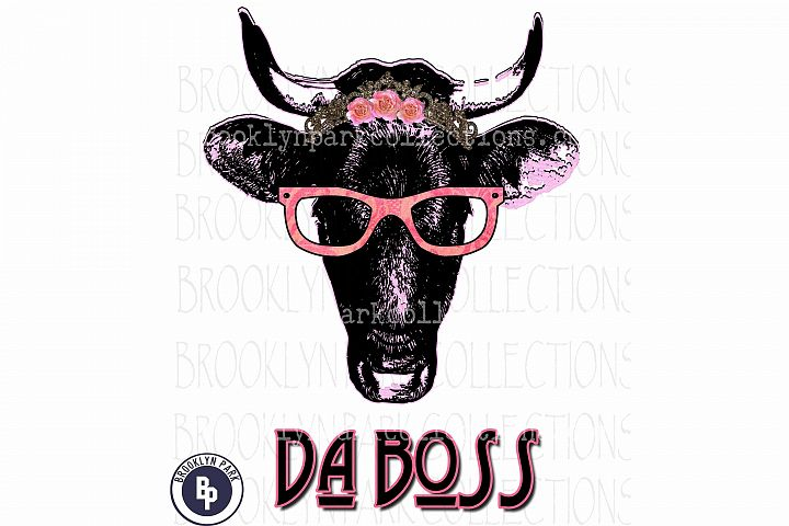 Da Boss, Cow, Heifer, glasses, Art, Print, Sublimation PNG